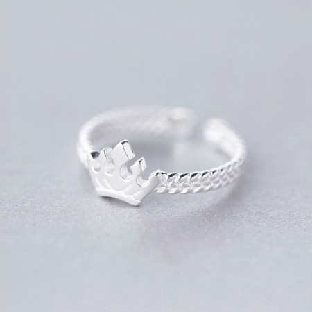 925 Silver Fashion Sweet Adjustable Crown Ring