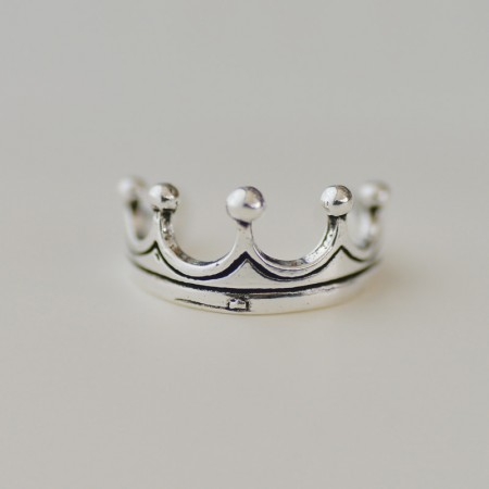 Exquisite Beauty Noble Charming 925 Silver Queen Crown Molding Ring