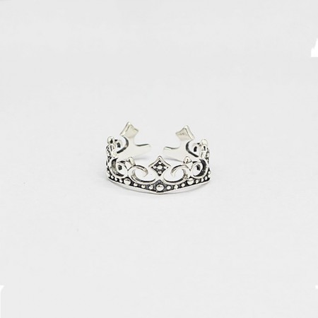 Creative Retro Make Old S925 Silver Hollow Pattern Crown Ring
