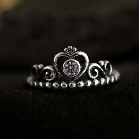 Retro Personality Ball Side S925 Silver Opening Crown-Shaped Ring