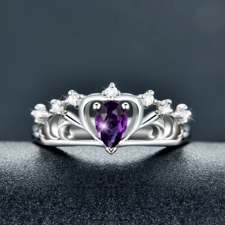 Beautiful And Exquisite Workmanship 925 Silver Inlay Natural Gemstone Crown Ring