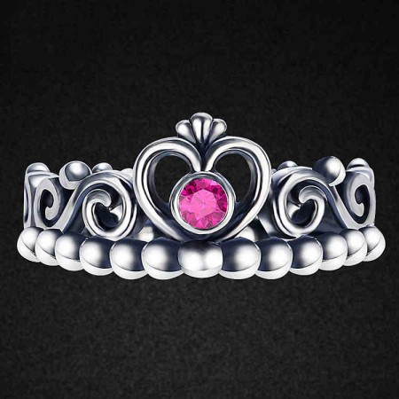 Retro Simple Personality 925 Silver Hollow Crown Molding Ring