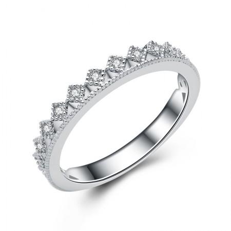 Simple Elegant 925 Silver Romantic Charm Crown Ring
