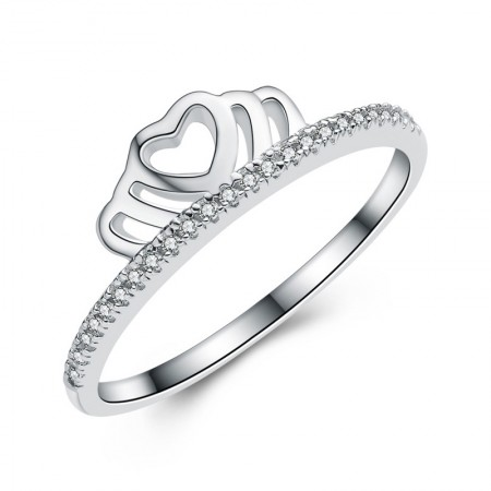 Romantic Hollow Heart-Shaped 925 Silver Crown Ring