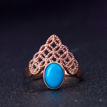 925 Silver Plated Rose Gold Inlaid Natural Stones Retro Crown Ring