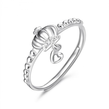 No Deformation High Hardness Silver Crown Ring With Heart Shaped Pendant