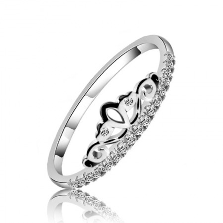 925 Silver Fashion Personality Shine Cubic Zirconia Crown Ring