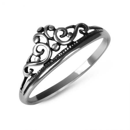 925 Silver Retro Make Old Bohemian Crown Ring
