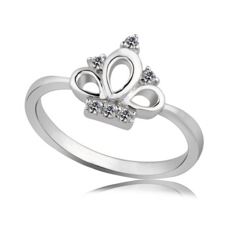 925 Silver Handmade Inlaid Cubic Zirconia Classic Crown Ring