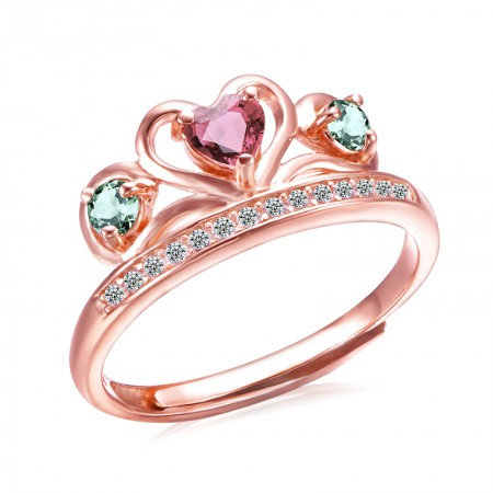 New Heart-Shaped Gold-Plated 925 Silver Inlaid Natural Crystal Crown Ring