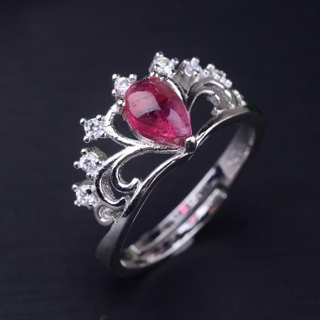 Europe Fashion Natural Pink Tourmalines 925 Silver Noble Crown Ring