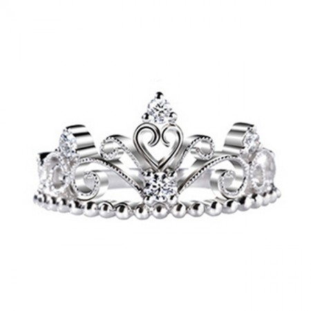 Beautiful Styling Ball Edge 925 Sterling Silver With 18K White Gold Princess Crown Ring