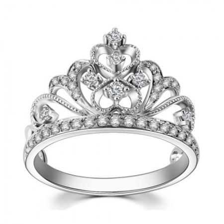 Unique Heart-Shaped Combined With Classical Curly Pattern Retro Princess Crown Ring