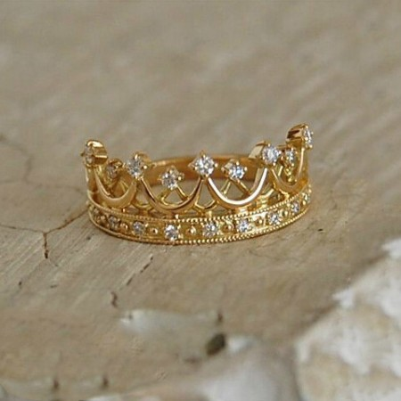 925 Sterling Silver Fashion Wild Retro Queen Crown Ring