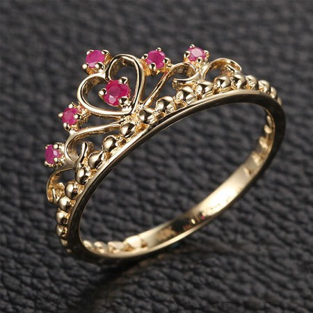 Baroque Palace Style 925 Sterling Silver Inlay Ruby Retro Princess Crown Ring