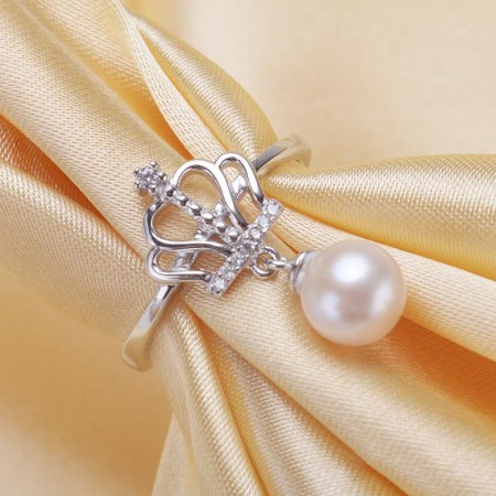 Creative Design S925 Silver Crown Drops Freely Adjust Freshwater Pearl Ring