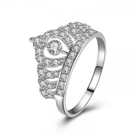 New Stylish Simplicity Sterling Silver Microscopic Setting Cz Crown Ring