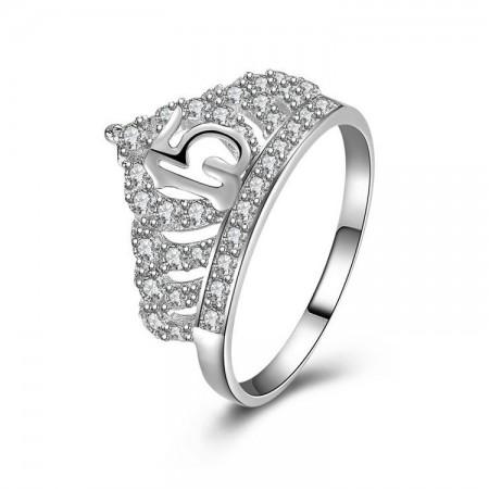 925 Sterling Silver Inlaid Cubic Zirconia Simple Elegance Crown Ring