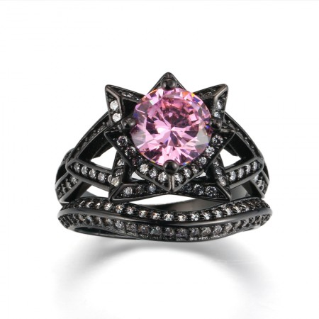 Europe Luxury Hot Sale Black Gold Inlaid High-End Pink CZ Flower-Shaped Engagement Ring