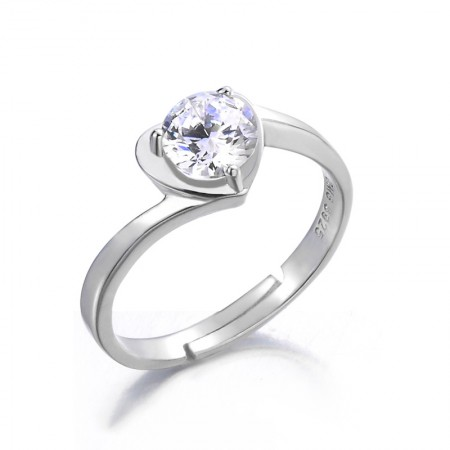 Fashion Style Heart-Shaped S925 Silver Inlaid Cubic Zirconia Engagement Ring