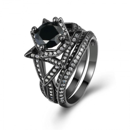 Upscale Luxury Black Gold Inlaid Round Cubic Zirconia Flower-Shaped Double Sets Ring
