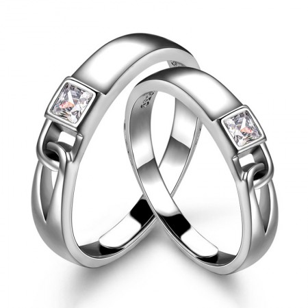 Fashion Meaningful S925 Silver Inlaid Cubic Zirconia Love Lock Couple Rings