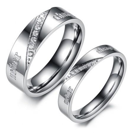 Exquisite Charming Hard Shiny Titanium Steel Couple Rings