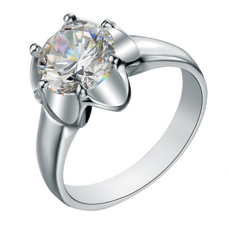 Elegant And Noble Refined Polishing S925 Silver Wide Flower-Shaped Engagement Ring