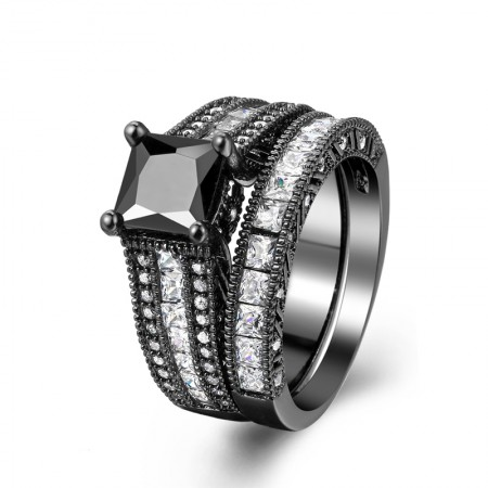 Dazzling Copper Plating Black Gold Inlaid High-Grade Square Cubic Zirconia Ring Sets