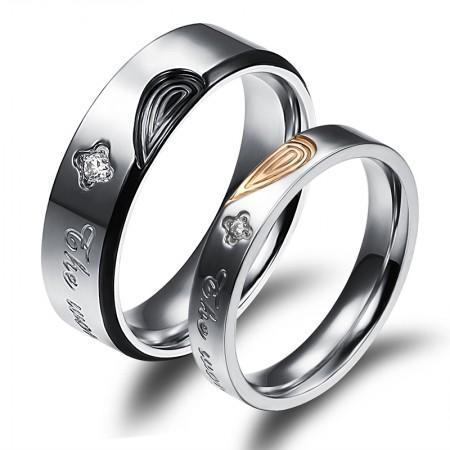 "Creative Love Spliced Fashion Titanium Steel ""The World Has Changed Us"" Couple Rings"