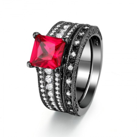 Europe Style Luxury Copper Plated Black Gold Inlaid Charming Red Cubic Zirconia Ring Sets