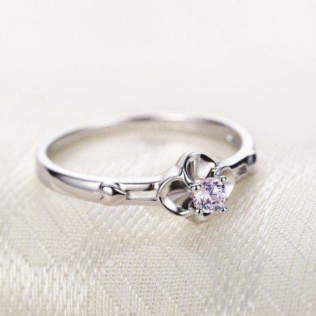 925 Sterling Silver Hand-Inlaid Quality Cubic Zirconia Lucky Clover Engagement Ring