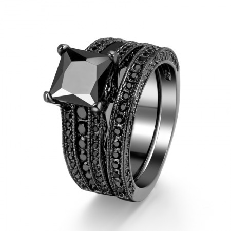 Superb Technology Luxury Charm Copper Plated Black Gold Inlay CZ Ring Set