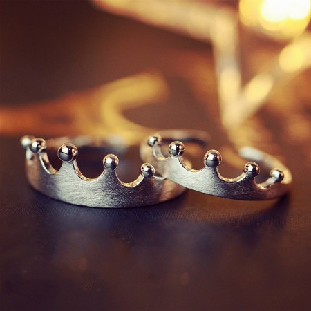 Never Fade 925 Sterling Silver Matte Opening Temperament Crown Couple Rings