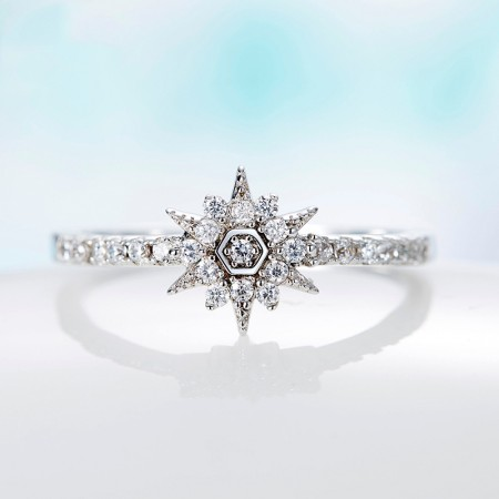 Fashion Jewelry 925 Silver Inlaid Cubic Zirconia Light Of Sun Engagement Ring