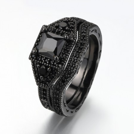 Black Gold Plated Copper Inlaid Black Cubic Zirconia Europe Luxury Engagement Ring Set