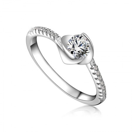 S925 Silver Inlaid Rhodium Blooming Roses Shape Inlaid Perfect CZ Engagement Ring