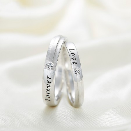 "Simple And Elegant Matte 925 Silver ""Forever Love"" Couple Rings"