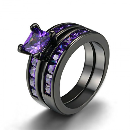 Simple Atmospheric Black Gold Plated Copper Inlaid Charmimg Purple CZ Engagement Ring Set