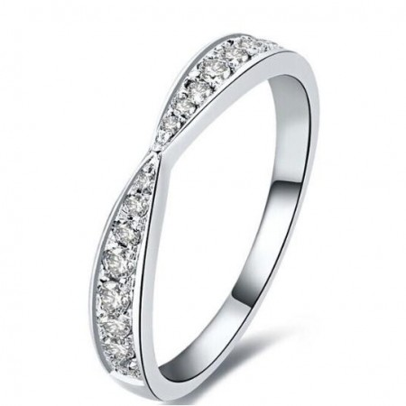 Sterling Silver Plating Platinum Inlay Cubic Zirconia Fresh Style Woman's Ring