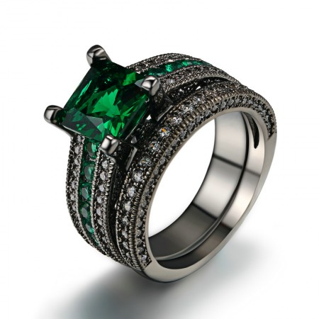 Europe Luxury Copper Plating Black Gold Inlaid Green Square Cubic Zirconia Ring Set