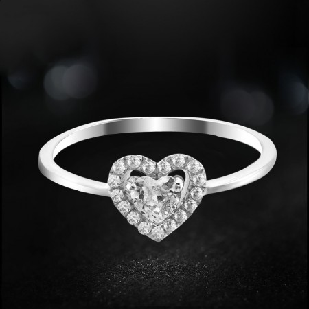 Leading Technology 925 Sterling Silver Inlay Heart-Shaped Cubic Zirconia Engagement Ring