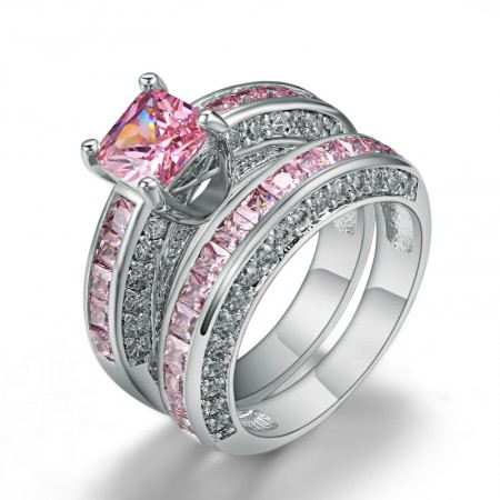 Amazing Popular Luxury Copper Plated White Gold Inlaid Pink CZ Engagement Ring Set