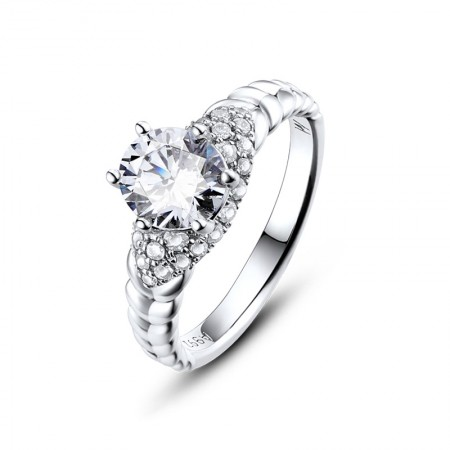 Gift Box Packaging Classic Six-Claw Cubic Zirconia 925 Silver In Platinum Engagement Ring