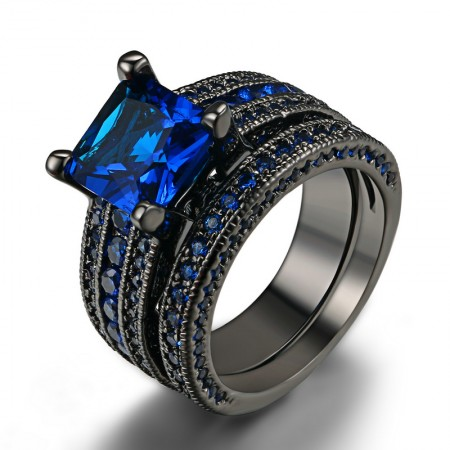 Quality Environmental Copper Plated Black Gold Inlaid Blue CZ Engagement Ring Set