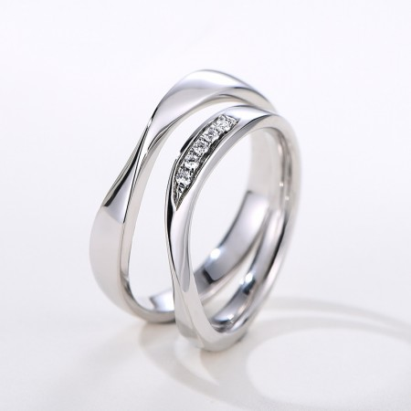 Simple Creative Design Romantic Lines 925 Sterling Silver Couple Rings With Cubic Zirconia