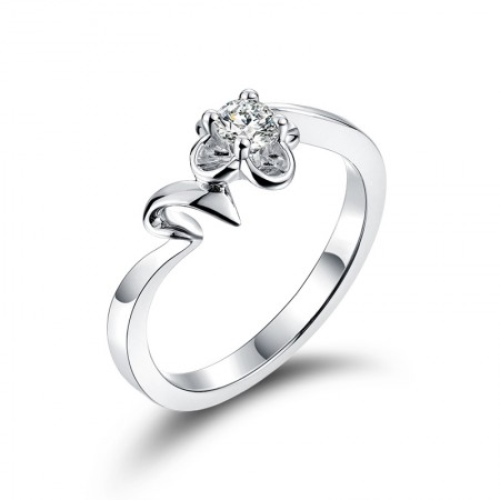 Korean Version Of The Simple Attention To Detail Clover 925 Silver Engagement Ring