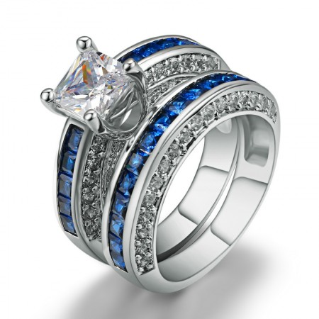Flashing High-End Environmental Copper Plated White Gold Inlaid Blue CZ Ring Set