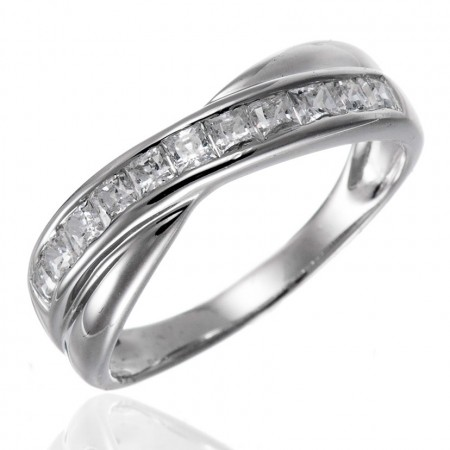 Boutique Personalized Band Staggered 925 Silver With Rhodium Engagement Ring