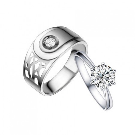 Men's Wide Hollow And Woman's Slim Elegant 925 Silver Couple Rings